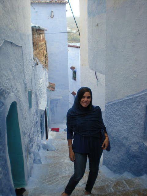 Foto de las calles azules y blancas de Chauen