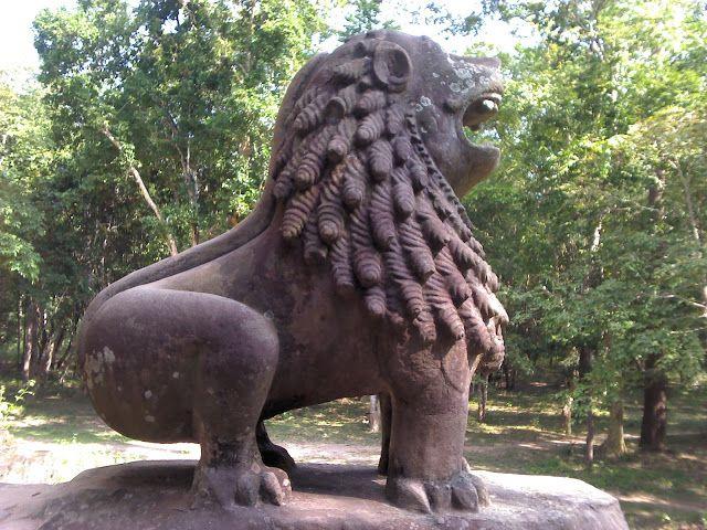 León de los templos de Sambor Prei Kuk en Kompong Thom, Camboya