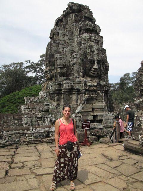 Detalle del templo de Bayón en Camboya