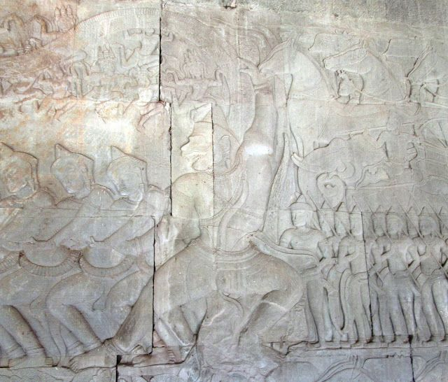 Bajorelieve de Ravana en Angkor Wat, Camboya