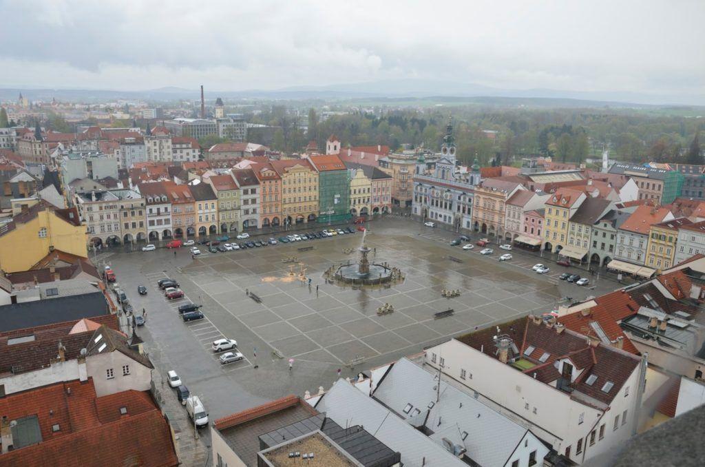 Vista de la plaza desde la torre de Ceske Budějovice