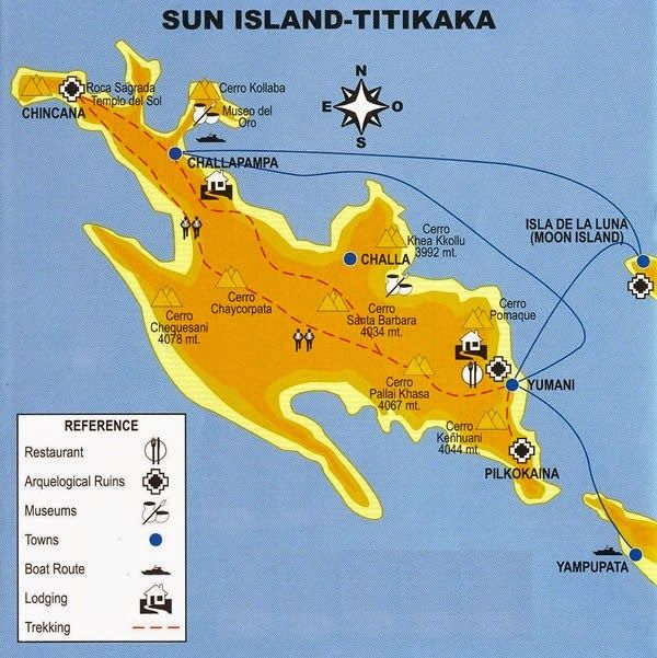 Mapa de la isla del Sol en Bolivia