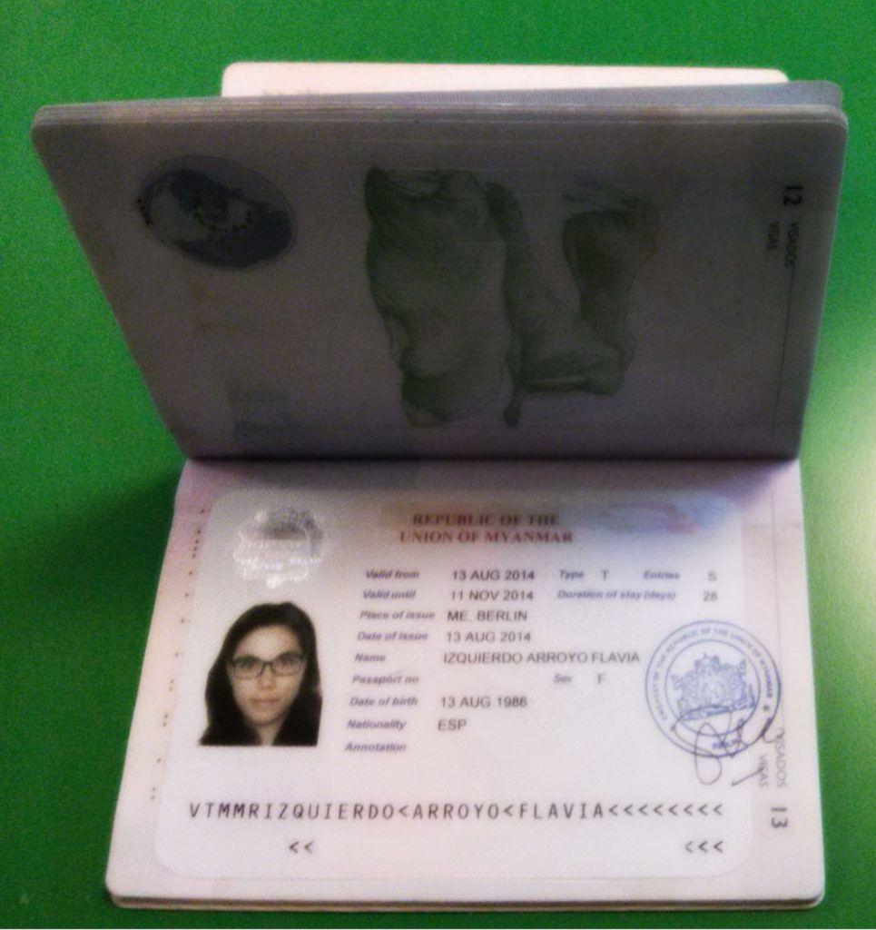Mi visado de Myanmar con foto del fotomatón