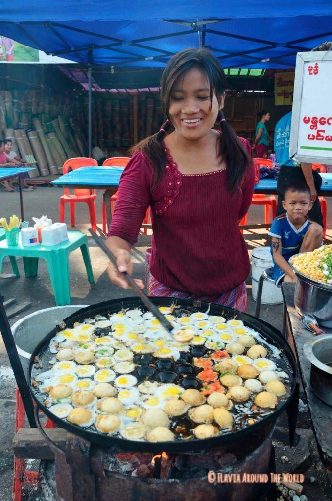 Comida callejera en Mandalay Myanmar