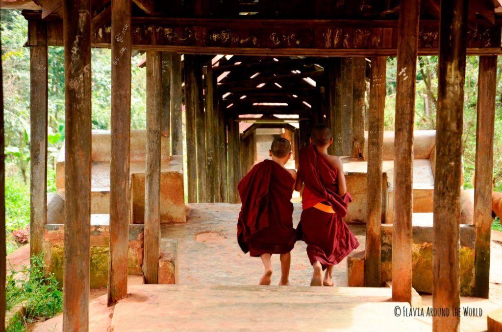 Monjes novicios bajando del monasterio en Kalaw, Myanmar