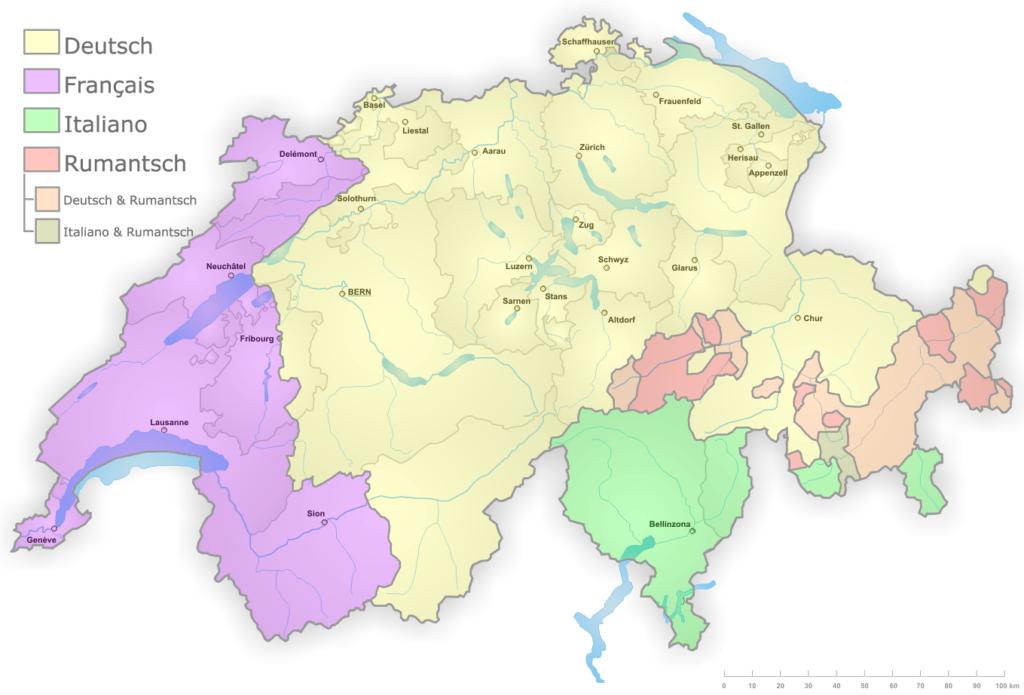 Mapa de los idiomas hablados en Suiza