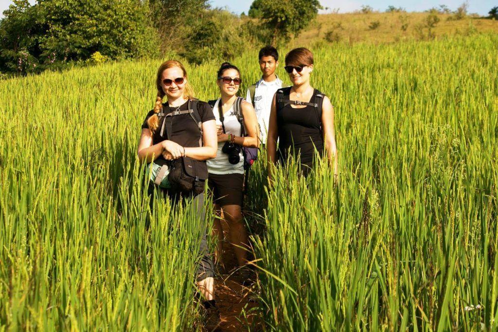 Magda, Agata, Benjamín y yo entre campos de arroz
