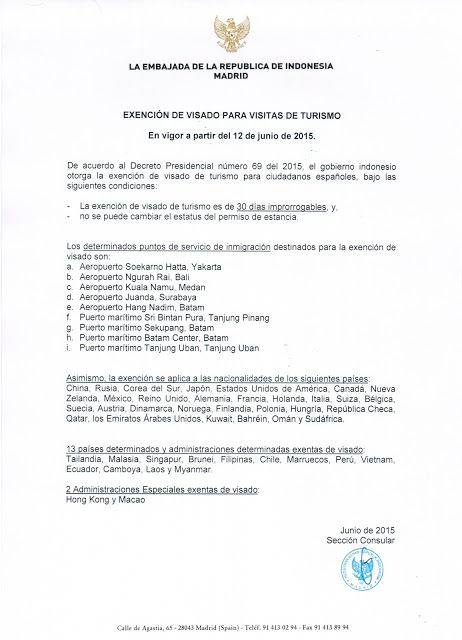 Comunicado de la embajada de Indonesia en Madrid