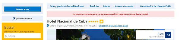 no se puede reservar a través de Booking destino Cuba