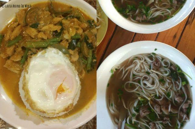 sopa pho y curry en vientiane comida laos